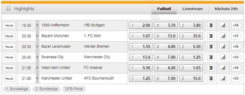 Bet3000 Bundesliga Quoten