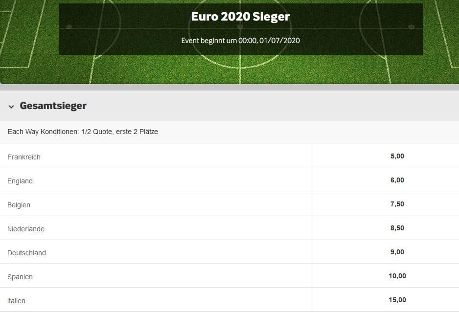 Betway Wetten auf die EM 2020