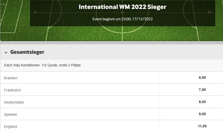 Betway WM 2022 Wetten